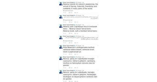 Cumhurbaşkanı Erdoğan 7 dille yazılı mesajla Nevruz Bayramı'nı kutladı