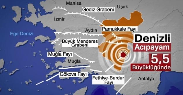 Denizli'de 5,5 Şiddetinde Deprem!