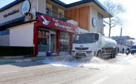 Mudanya'da cadde ve sokaklar ilaçlanıp yıkanıyor
