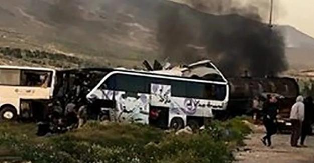 Şam'da yakıt tankeri ile iki yolcu otobüsü çarpıştı! 30 Kişi öldü..