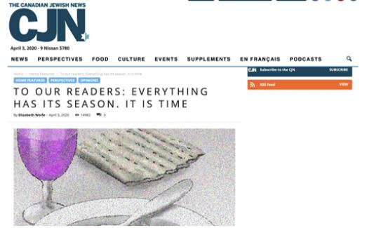 60 yıllık Kanada Yahudi gazetesi Korona günlerinde kapandı