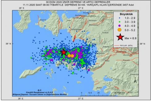 İzmir depreminden sonra bugüne kadar 3457 artçı sarsıntı kaydedildi
