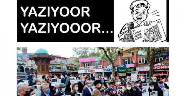 """Sıradışı bir Protesto: """"Yazıyoor!.. Belediye Başkanı Alinur Aktaş'ın 'Yandaş Medya'ya Kıyağını Yazıyor!!.."""""""