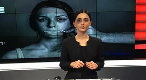 Spiker, 25 Kasım'da 'morluk ve yara izi makyajı'yla haber sundu