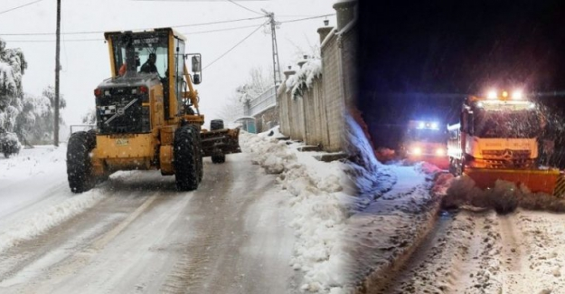 Mudanya'da karla mücadele mesaisi uzatıldı