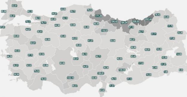 Türkiye'de geçen hafta koronavirüs vaka sayısı oranı en yüksek ve en düşük iller hangileri?
