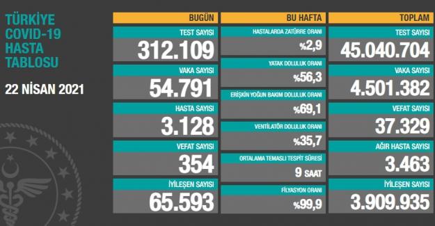 Son 24 saat itibariyle 54 bin 791 yeni vaka ve 354 vefat sayısı açıklandı
