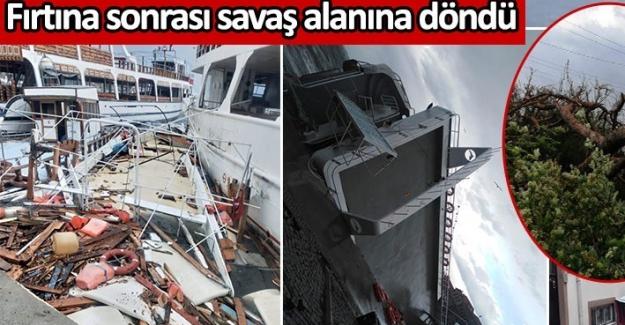 Ayvalık'ta hasar çok büyük. Fırtına sonrası savaş alanına döndü