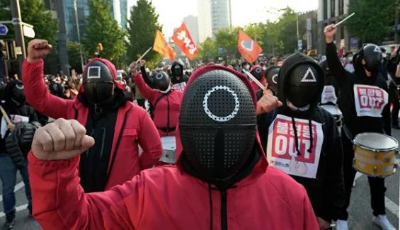 Güney Kore'de on binlerce işçi, çalışma koşullarının iyileştirilmesi talebiyle sokağa çıktı