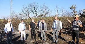 Başkan Turgay Erdem yangın bölgesini yerinde inceledi
