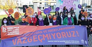 """Kadına şiddete karşı seslerini duyurdular: """"Haklarımızdan ve hayatımızdan vazgeçmiyoruz"""""""