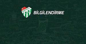 Bursaspor'un Olağan Genel Kurul Toplantısı ertelendi.
