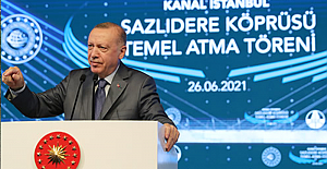"""Erdoğan, Kanal İstanbul'un temel atma töreninde muhalefete yüklendi: """"Yatırımcıları, bankaları tehdit ediyorlar; söke söke sizden bu paraları alırlar"""""""