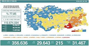 Son 24 saatte 29 bin 643 yeni vaka belirlendi, 215 kişi hayatını kaybetti